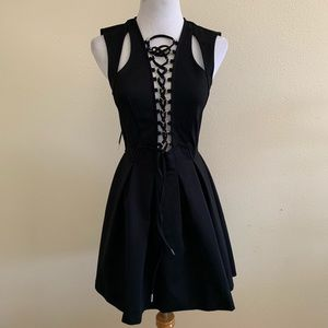 Nasty Gal We've Got Tonight Lace Up Skater Dress